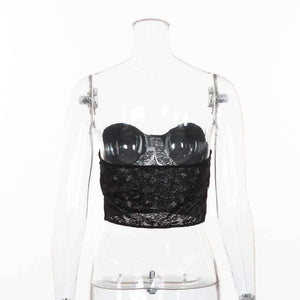 strapless lace patchwork sexy top