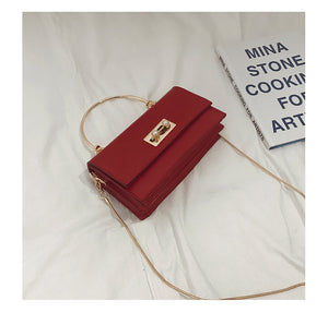 metal handle rectangle PU shoulder bag