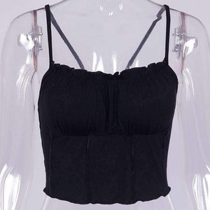 falbala hem strappy simple top