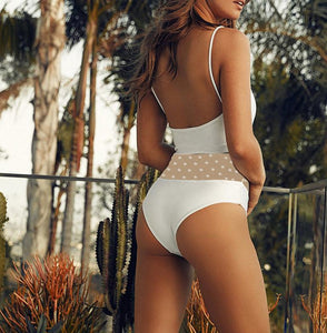 hollow out polka dots mesh patchwork swimsuit