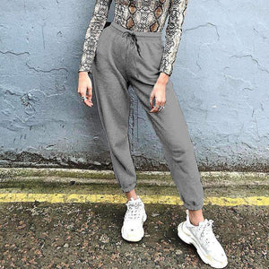 letters printed basic casual pants