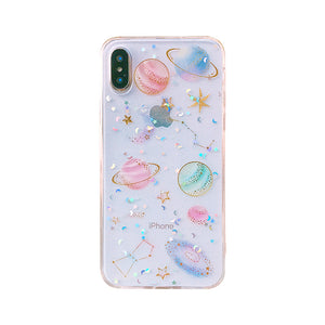 planet star transparent soft back cover phone case