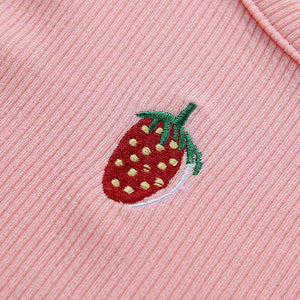 cute strawberry embroidery knitted crop top
