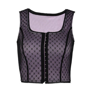 lace patchwork front buckles tank top