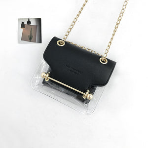 metal decoration lucency shoulder bag