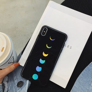 laser gradient moon printed soft phone case
