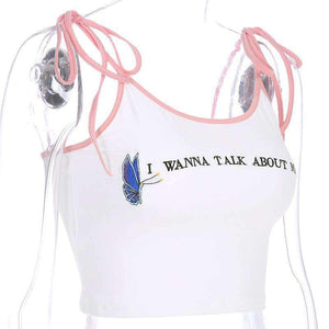 strappy letters and butterfly embroidery crop top