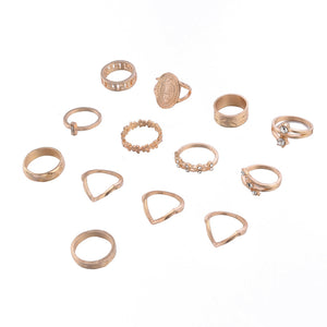 madonna  leave flower rhinestone studded 13-pieces rings set