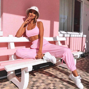 sweet solid color bra pants two-piece set
