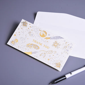 gold stamp feather thank you card