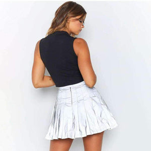 light-reflective pleated mini skirt