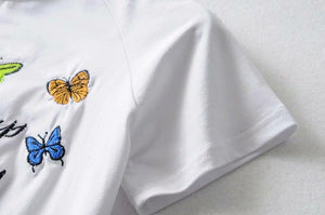 butterfly embroidered short sleeved slim t-shirt