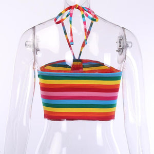 rainbow stripes halter slim crop top