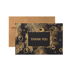 vintage gold stamp feather business thank you card