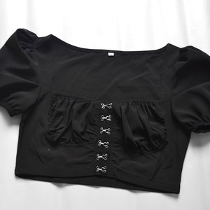 square neck solid color front buckles puff sleeved crop top
