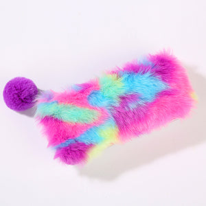 rainbow plush large capacity pencil case