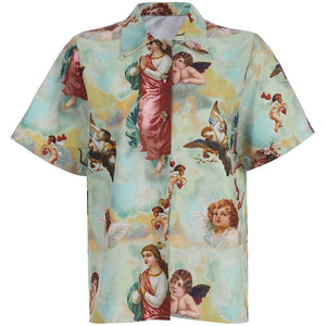vintage angels printed turn-down collar loose shirt