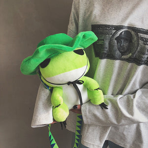 cute frog plush cross body bags