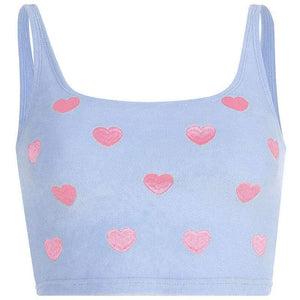 U neck heart embroidery tank top
