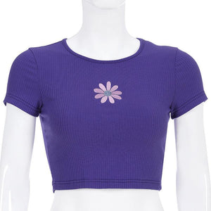 floral embroidery knitted slim  crop top