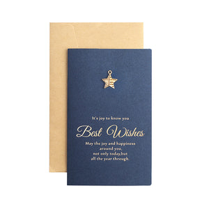 gold stamp metal decoration best wishes thank you card