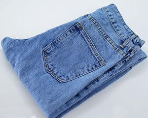 irregular waisted leisure denim jeans