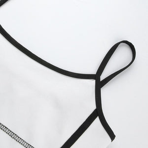 black lines strappy slim dress