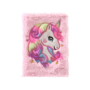 plush unicorn cover girl gift notebook