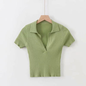 solid color turn-down collar kniited slim top