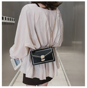 fashion big metal hasp rectangle shoulder bag