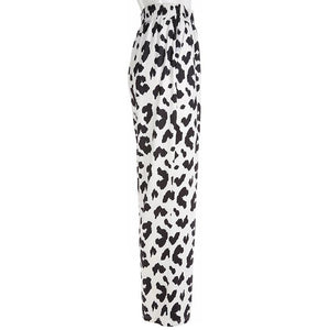 high waisted cow printed straight pants
