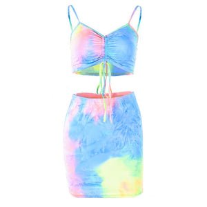strappy tie-dye front drawstring top high waisted skirt 2 pieces dress women set