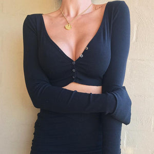 deep v neck solid color front buttons crop top