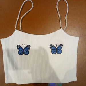pearls straps butterfly embroidery crop top