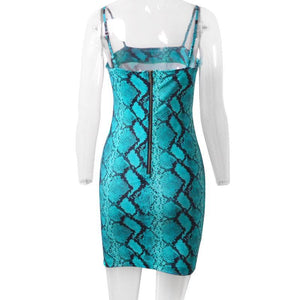 blue snake print strappy slim mini dress