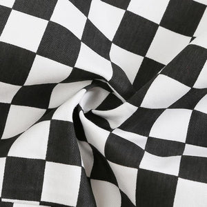 black and white checkerboard loose jumpsuit overalls