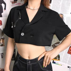 punk short sleeved metal chain decoration cropped blazer jacket