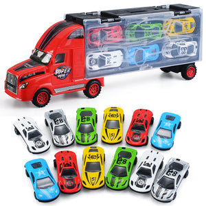 storage container truck with 12pcs mini alloy car toy vehicles