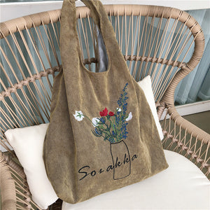 large capacity corduroy embroidered shopper bag
