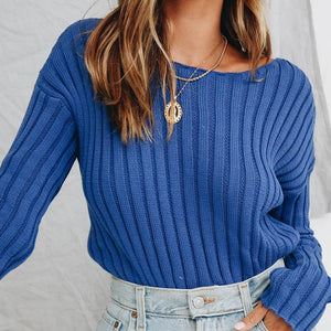 crewneck solid color basic knitted top sweater