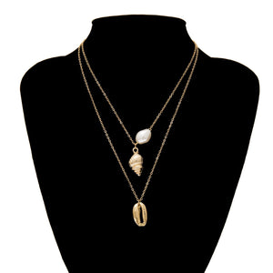 elegant pearls and shells pendant two-layer necklace