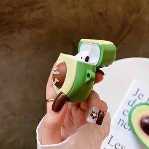 3D smile avocado soft silicone AirPods protector case