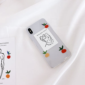 retro abstract painting transparent soft phone case