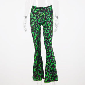 punk green flame printed slim wide-leg pants