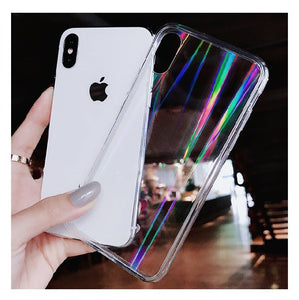 transparent gradient rainbow laser cover phone case