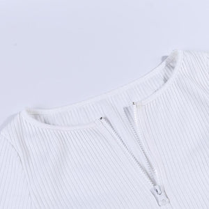 front two-way zipper knitted slim top