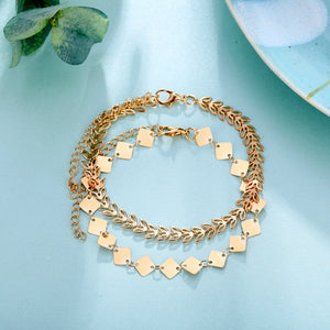 chic gold leaf and square pattern 2-pieces anklet