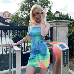 summer colorful tie-dye slim bodycon mini casual dress