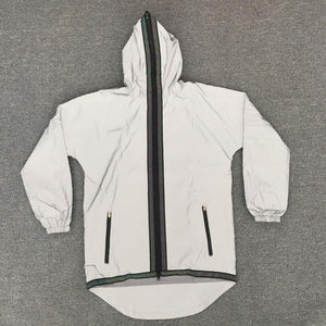 fashion reflective casual zipper coat