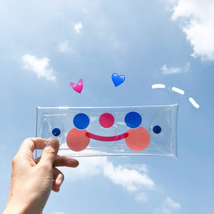 cute smile face lucency pencil case